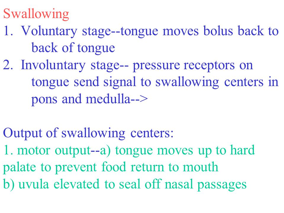 Swallowing 1. Voluntary stage--tongue moves bolus back to back of tongue 2. Involuntary stage-- pressure receptors on tongue send signal to swallowing