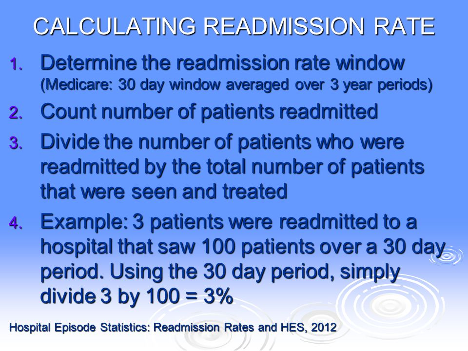 CALCULATING READMISSION RATE 1. Determine the readmission rate window (Medicare: 30 day window averaged over 3 year periods) 2. Count number of patien