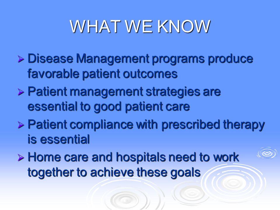 WHAT WE KNOW  Disease Management programs produce favorable patient outcomes  Patient management strategies are essential to good patient care  Pat