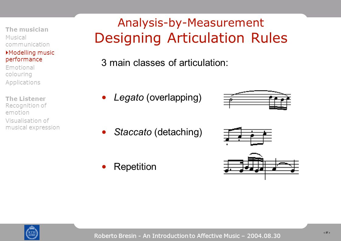 15 Roberto Bresin - An Introduction to Affective Music – 2004.08.30 Analysis-by-Measurement Designing Articulation Rules 3 main classes of articulation: Legato (overlapping) Staccato (detaching) Repetition The musician Musical communication  Modelling music performance Emotional colouring Applications The Listener Recognition of emotion Visualisation of musical expression