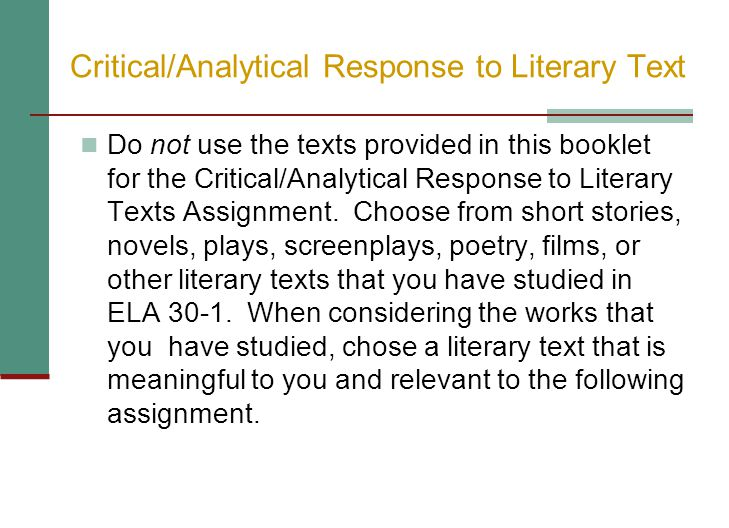 The Assignment Discuss the idea developed by the text creator in your chosen text about _____.