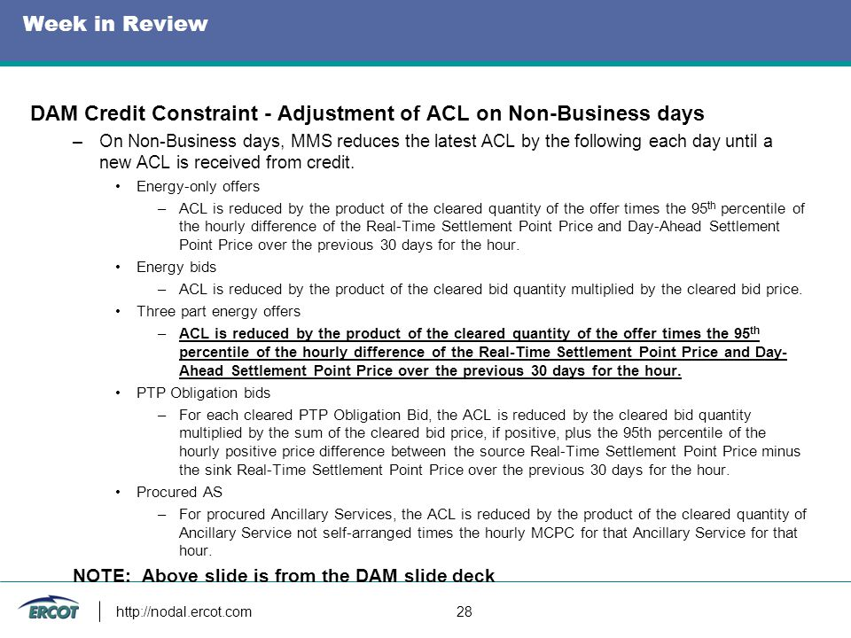 Week in Review DAM Credit Constraint - Adjustment of ACL on Non-Business days –On Non-Business days, MMS reduces the latest ACL by the following each