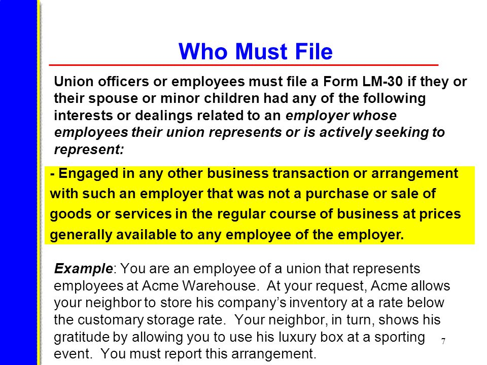28 Completing Form LM-30 The first five items on the form and Item 8 (signature and verification) must be completed by all filers.