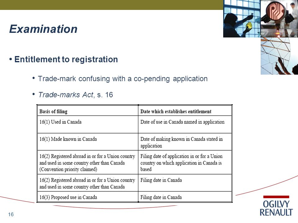 16 Examination Entitlement to registration Trade-mark confusing with a co-pending application Trade-marks Act, s.