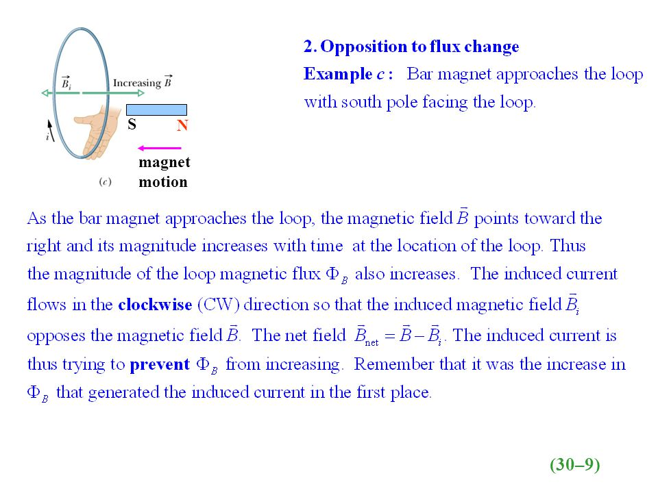 S N magnet motion (30–9)
