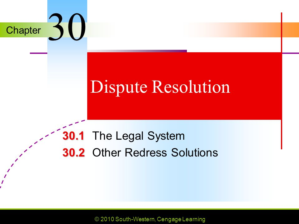 © 2010 South-Western, Cengage Learning SLIDE 12 Chapter 30 State Court Systems District and circuit courts General trial courts, often called state district courts, circuit courts, or superior courts, decide matters that can be appealed to higher courts.