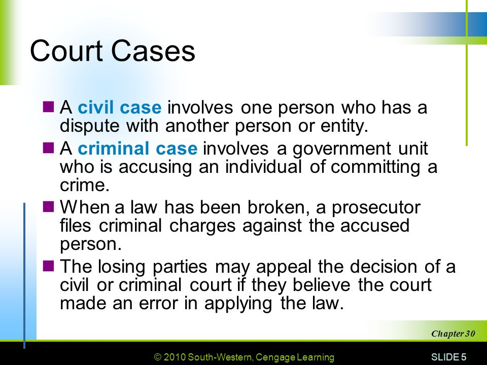 © 2010 South-Western, Cengage Learning SLIDE 6 Chapter 30 Court Personnel Judge Clerk of court Court reporter Bailiff Jury