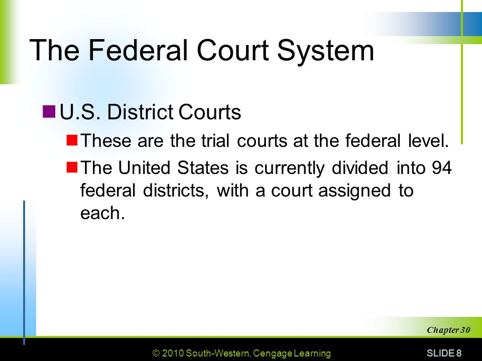 © 2010 South-Western, Cengage Learning SLIDE 9 Chapter 30 The Federal Court System U.S.