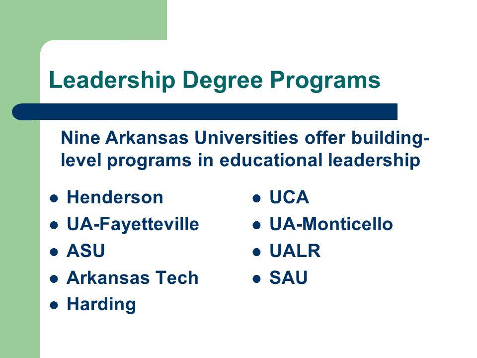 Leadership Degree Programs Henderson UA-Fayetteville ASU Arkansas Tech Harding UCA UA-Monticello UALR SAU Nine Arkansas Universities offer building- level programs in educational leadership
