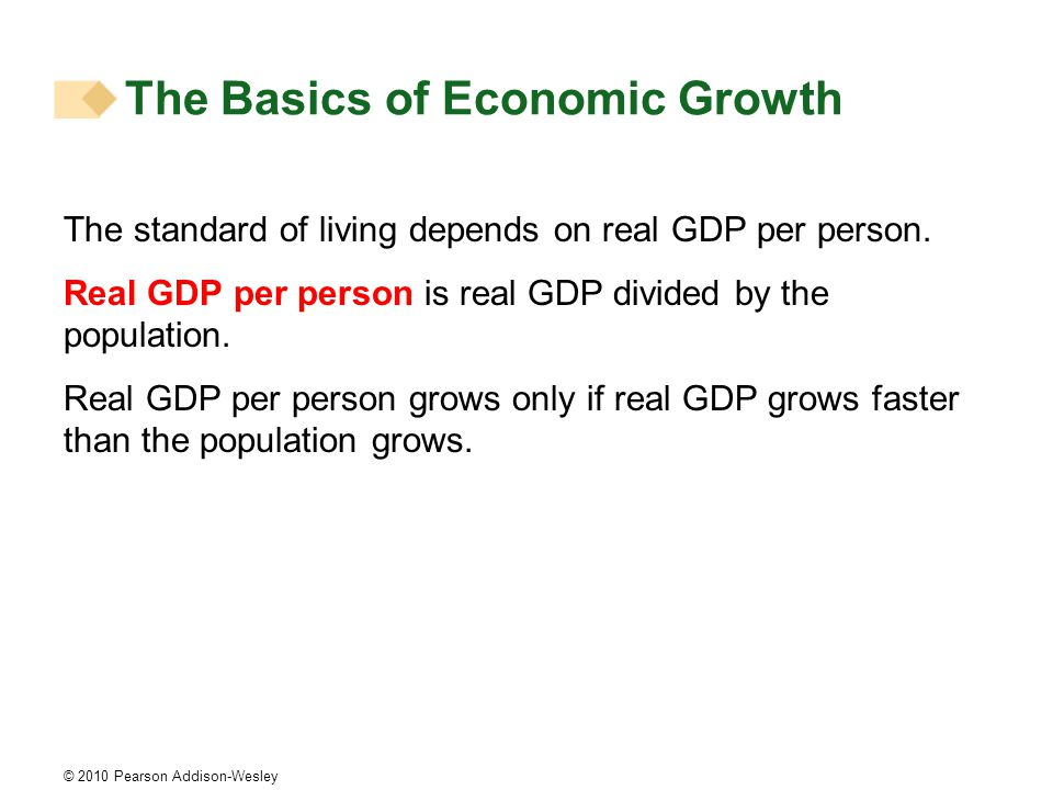 © 2010 Pearson Addison-Wesley The standard of living depends on real GDP per person.