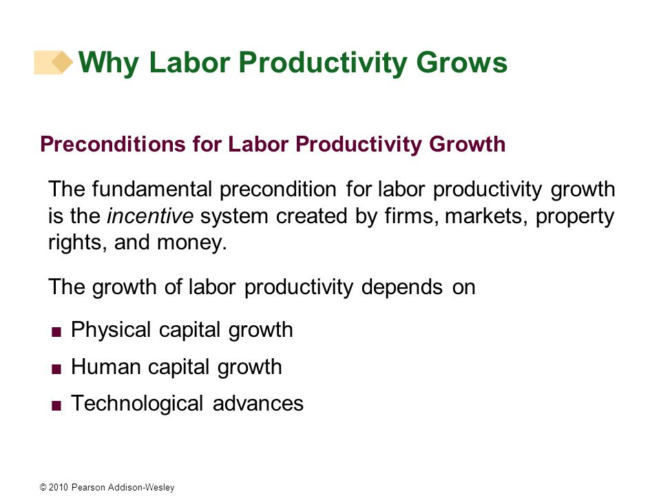 © 2010 Pearson Addison-Wesley Preconditions for Labor Productivity Growth The fundamental precondition for labor productivity growth is the incentive system created by firms, markets, property rights, and money.