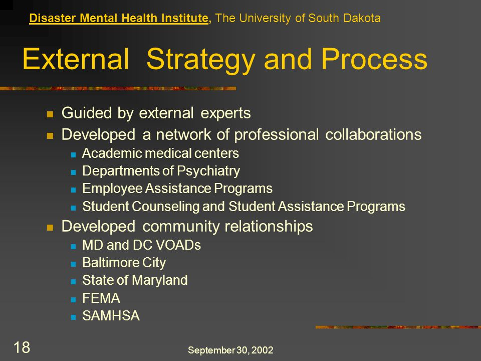 September 30, 2002 18 External Strategy and Process Guided by external experts Developed a network of professional collaborations Academic medical centers Departments of Psychiatry Employee Assistance Programs Student Counseling and Student Assistance Programs Developed community relationships MD and DC VOADs Baltimore City State of Maryland FEMA SAMHSA Disaster Mental Health Institute, The University of South Dakota