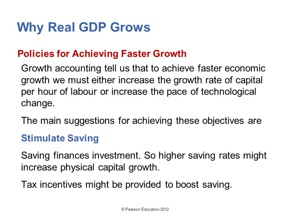 Why Real GDP Grows Policies for Achieving Faster Growth Growth accounting tell us that to achieve faster economic growth we must either increase the g
