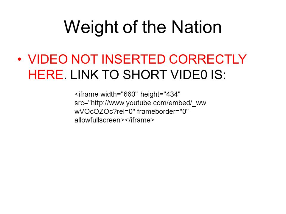 Weight of the Nation VIDEO NOT INSERTED CORRECTLY HERE. LINK TO SHORT VIDE0 IS: