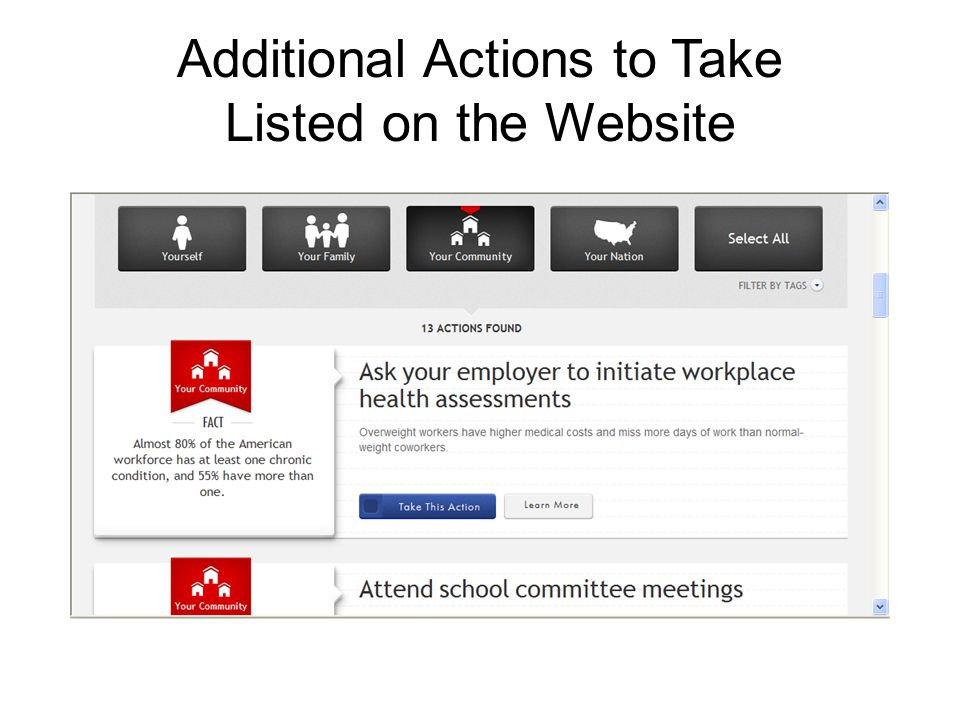 Additional Actions to Take Listed on the Website