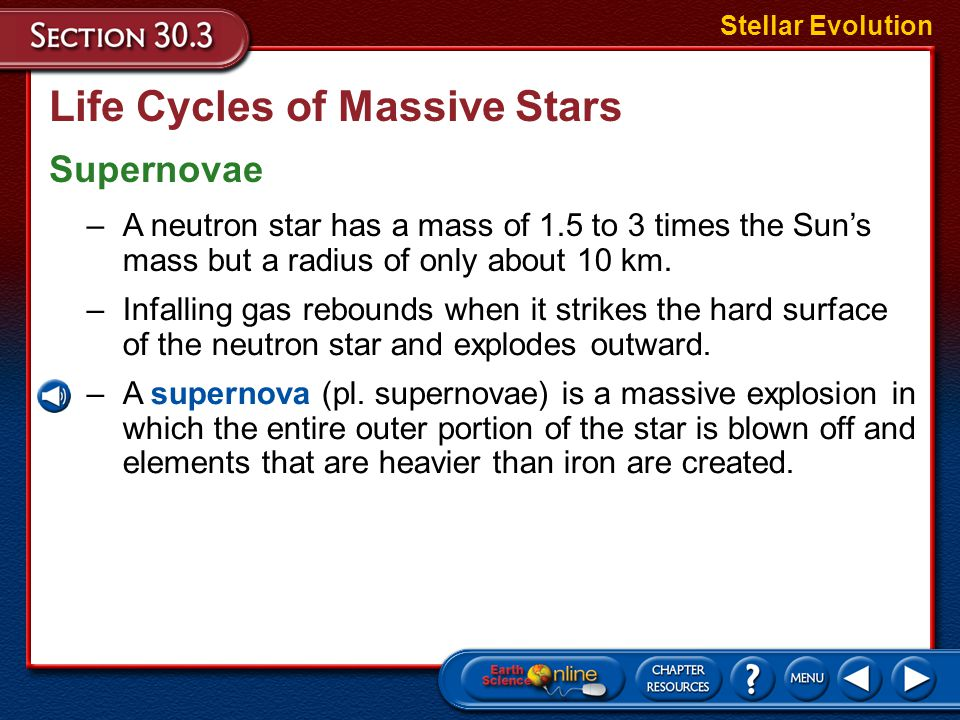 Life Cycles of Massive Stars Supernovae Stellar Evolution –A star that begins with a mass between about 8 and 20 times the Sun's mass will end up with