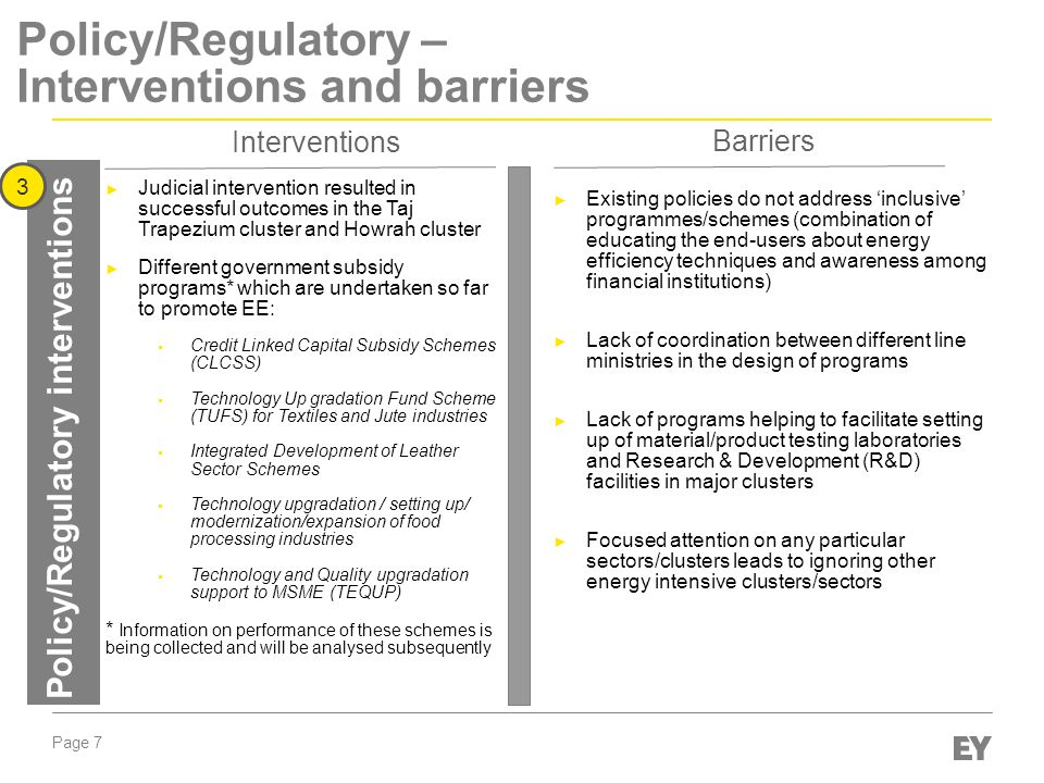 Page 7 Policy/Regulatory – Interventions and barriers Policy/Regulatory interventions 3 Interventions Barriers ► Existing policies do not address 'inclusive' programmes/schemes (combination of educating the end-users about energy efficiency techniques and awareness among financial institutions) ► Lack of coordination between different line ministries in the design of programs ► Lack of programs helping to facilitate setting up of material/product testing laboratories and Research & Development (R&D) facilities in major clusters ► Focused attention on any particular sectors/clusters leads to ignoring other energy intensive clusters/sectors ► Judicial intervention resulted in successful outcomes in the Taj Trapezium cluster and Howrah cluster ► Different government subsidy programs* which are undertaken so far to promote EE:  Credit Linked Capital Subsidy Schemes (CLCSS)  Technology Up gradation Fund Scheme (TUFS) for Textiles and Jute industries  Integrated Development of Leather Sector Schemes  Technology upgradation / setting up/ modernization/expansion of food processing industries  Technology and Quality upgradation support to MSME (TEQUP) * Information on performance of these schemes is being collected and will be analysed subsequently