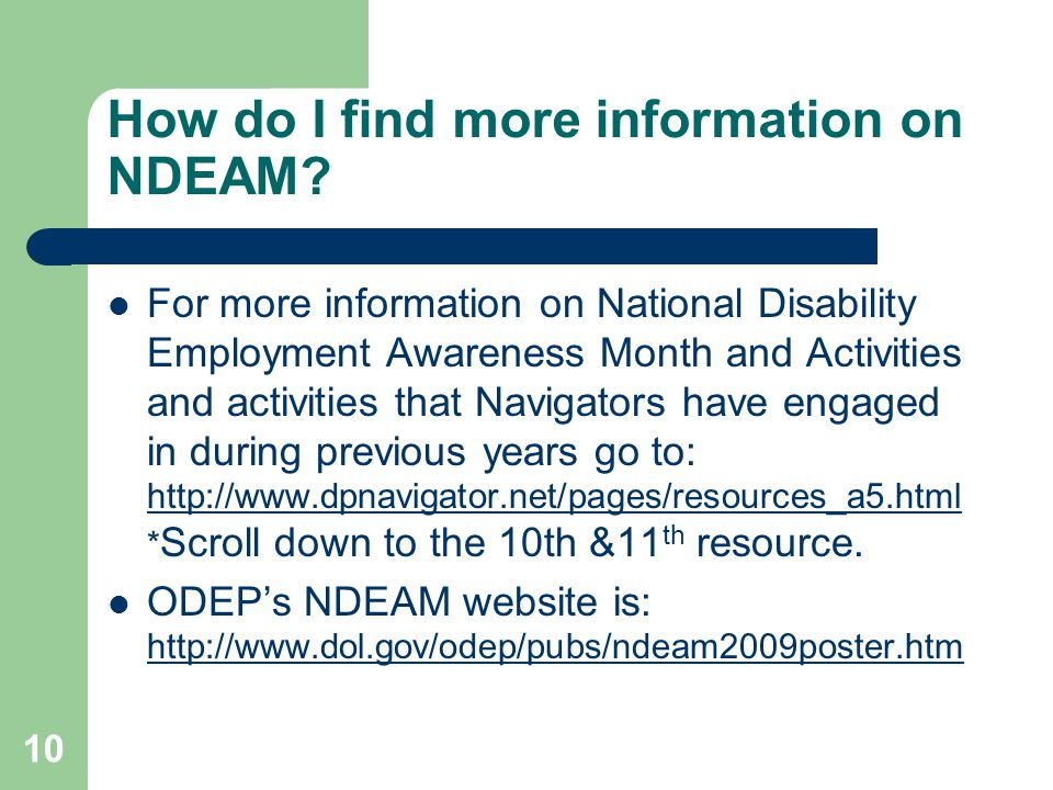 How do I find more information on NDEAM.