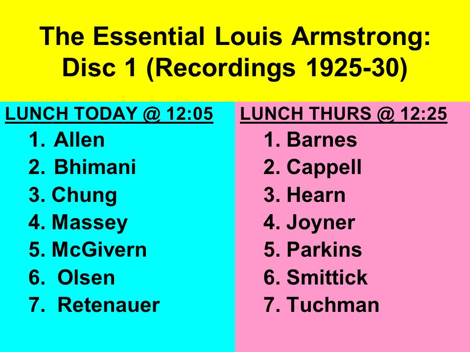 The Essential Louis Armstrong: Disc 1 (Recordings 1925-30) LUNCH TODAY @ 12:05 1.