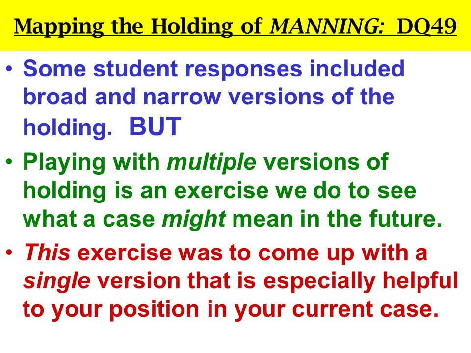 Mapping the Holding of MANNING: DQ49 Some student responses included broad and narrow versions of the holding.