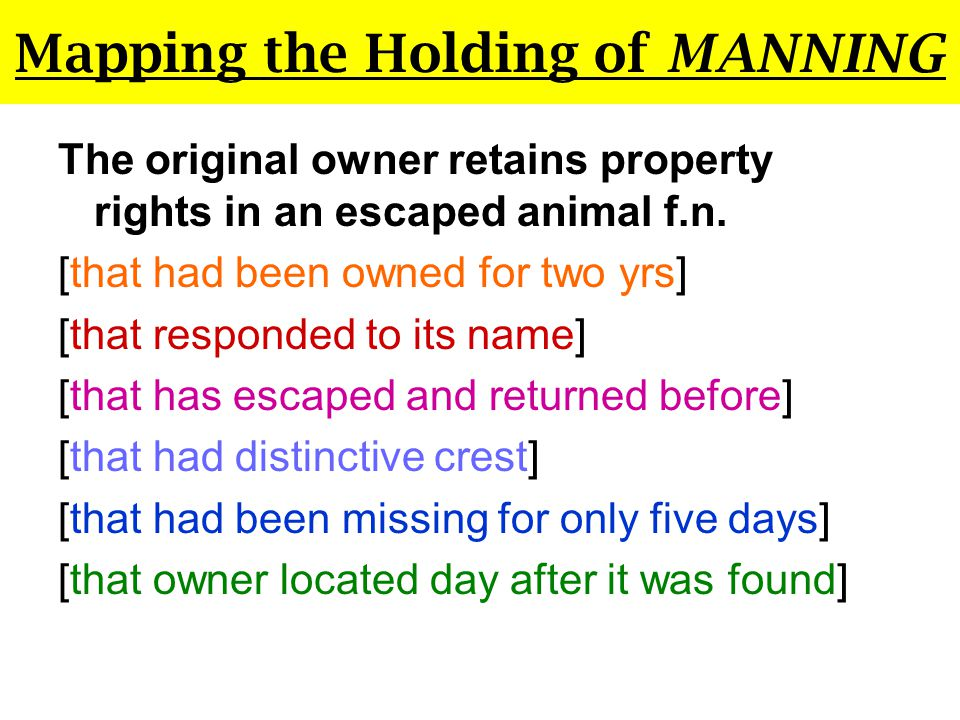 Mapping the Holding of MANNING Wild Animals of a Menagerie Menagerie = Zoo (Not Usually Tamed) Court specifically says wild animals of a menagerie Again, inconsistent with simple holding that OO retains any tamed animal