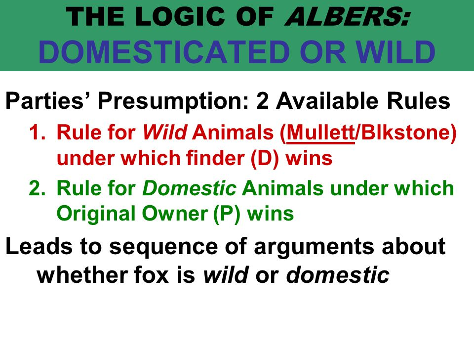 THE LOGIC OF ALBERS: DOMESTICATED OR WILD Parties' Presumption: 2 Available Rules 1.Rule for Wild Animals (Mullett/Blkstone) under which finder (D) wins 2.Rule for Domestic Animals under which Original Owner (P) wins Leads to sequence of arguments about whether fox is wild or domestic