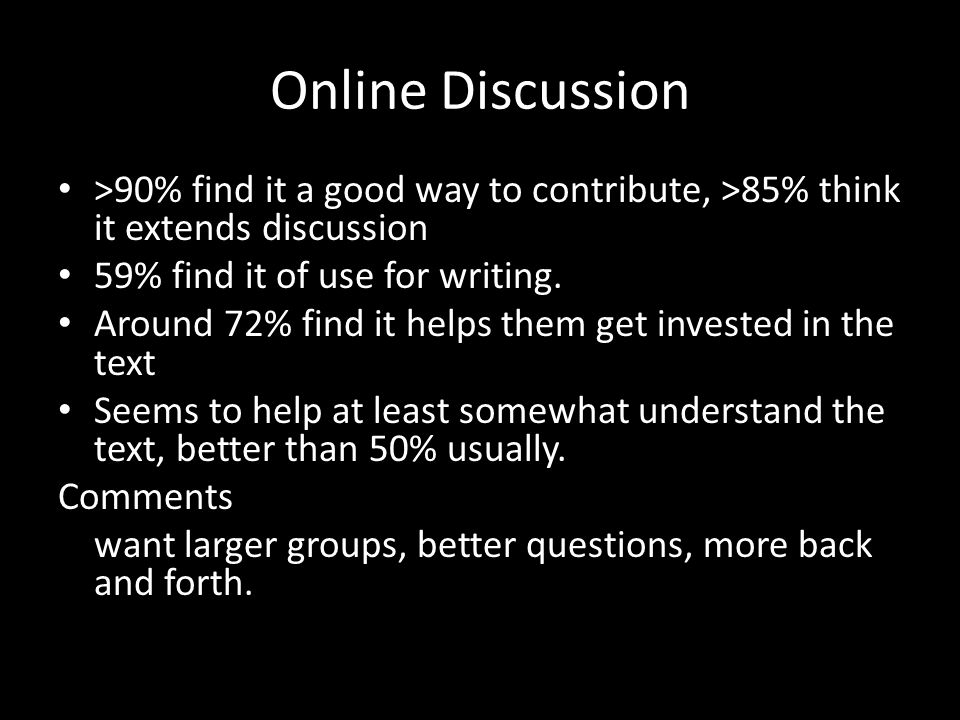 Online Discussion >90% find it a good way to contribute, >85% think it extends discussion 59% find it of use for writing.