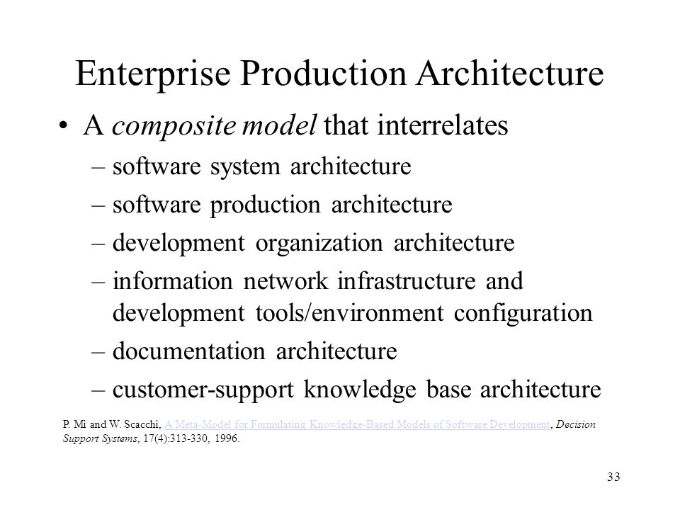 33 Enterprise Production Architecture A composite model that interrelates –software system architecture –software production architecture –development organization architecture –information network infrastructure and development tools/environment configuration –documentation architecture –customer-support knowledge base architecture P.