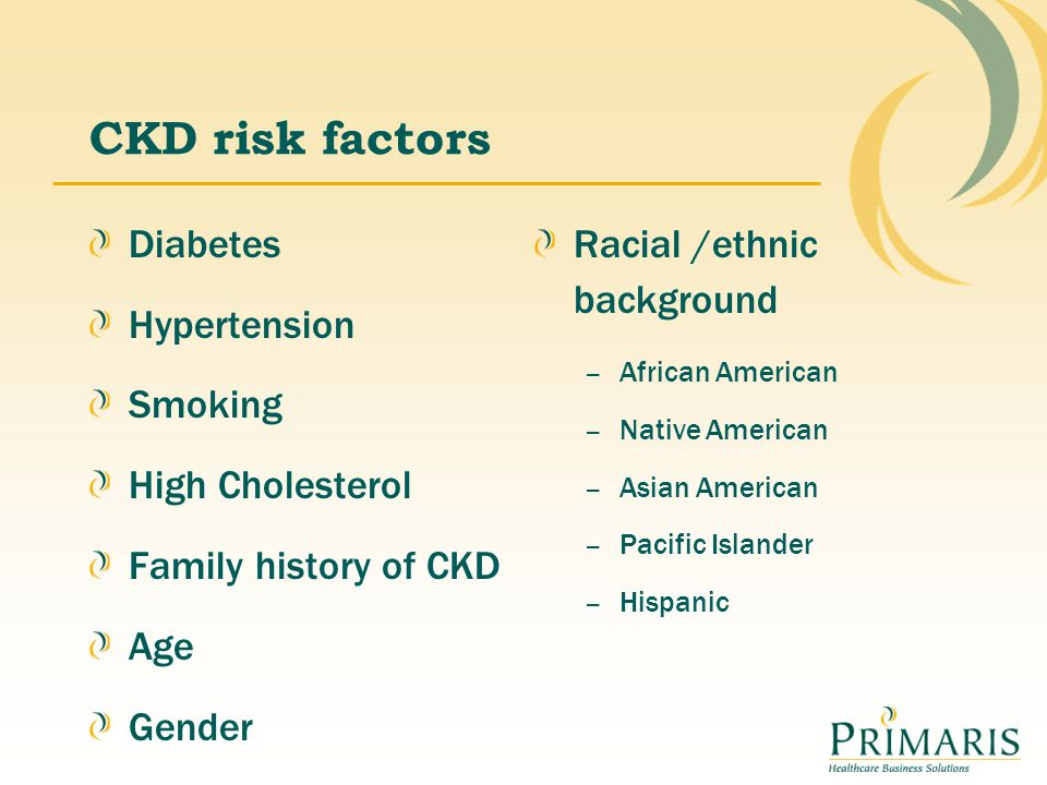 CKD risk factors Diabetes Hypertension Smoking High Cholesterol Family history of CKD Age Gender Racial /ethnic background – African American – Native