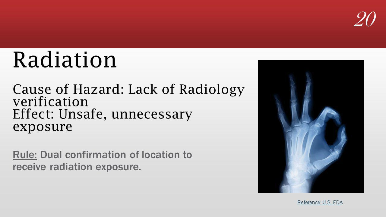 20 Radiation Cause of Hazard: Lack of Radiology verification Effect: Unsafe, unnecessary exposure Rule: Dual confirmation of location to receive radiation exposure.