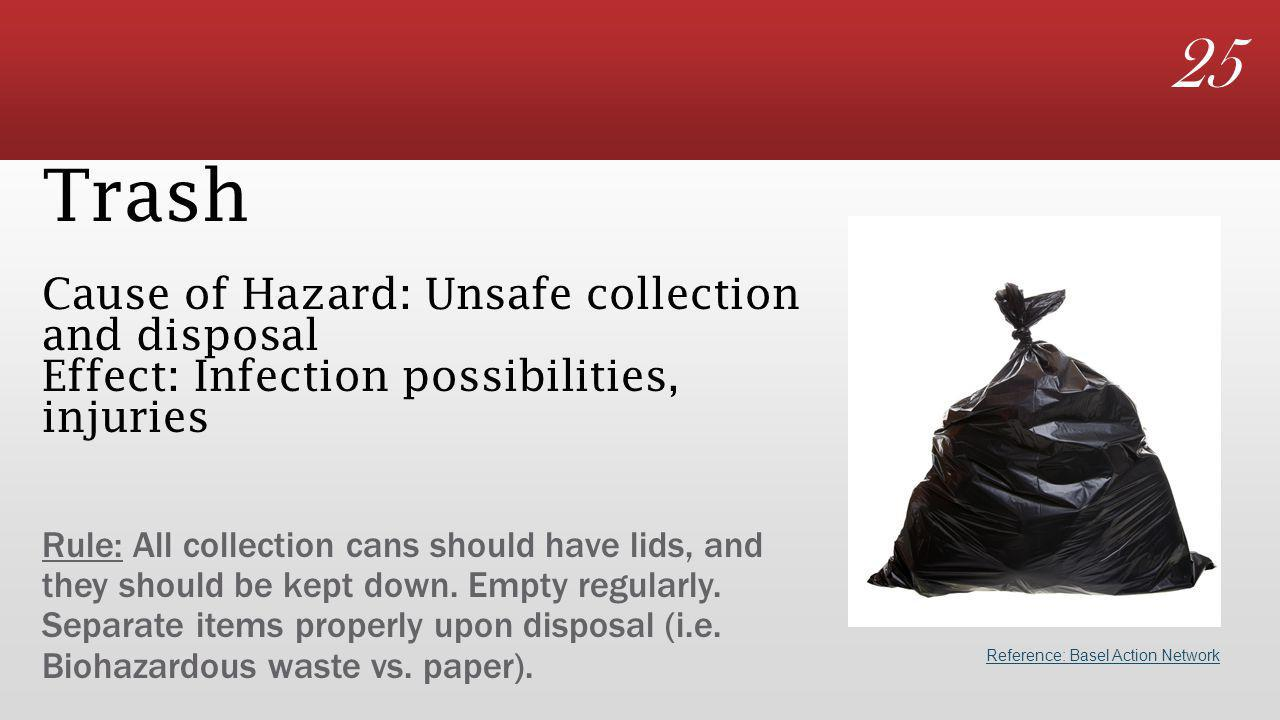 25 Trash Cause of Hazard: Unsafe collection and disposal Effect: Infection possibilities, injuries Rule: All collection cans should have lids, and they should be kept down.