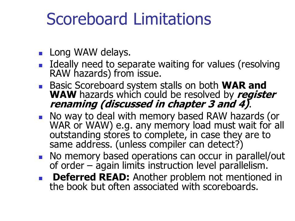 Scoreboard Limitations Long WAW delays.