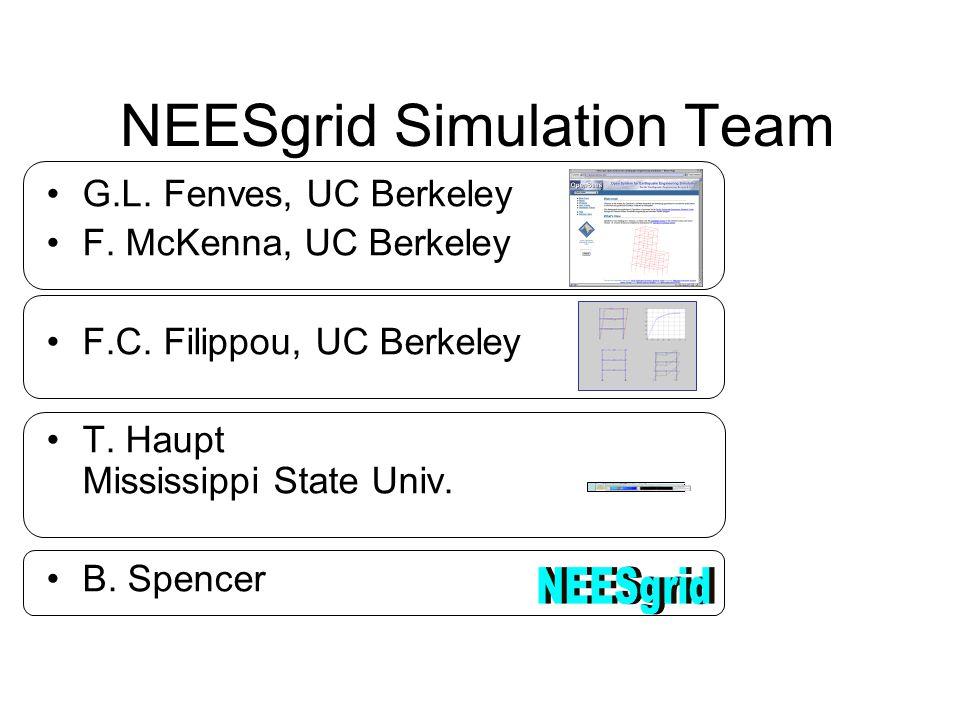 NEESgrid Simulation Team G.L. Fenves, UC Berkeley F.