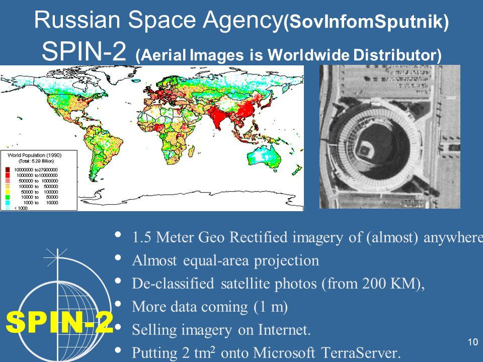 10 Russian Space Agency (SovInfomSputnik) SPIN-2 (Aerial Images is Worldwide Distributor) 1.5 Meter Geo Rectified imagery of (almost) anywhere Almost equal-area projection De-classified satellite photos (from 200 KM), More data coming (1 m) Selling imagery on Internet.