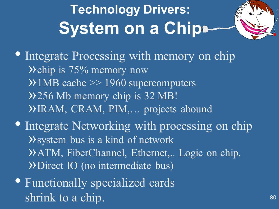 80 Technology Drivers: System on a Chip Integrate Processing with memory on chip » chip is 75% memory now » 1MB cache >> 1960 supercomputers » 256 Mb memory chip is 32 MB.