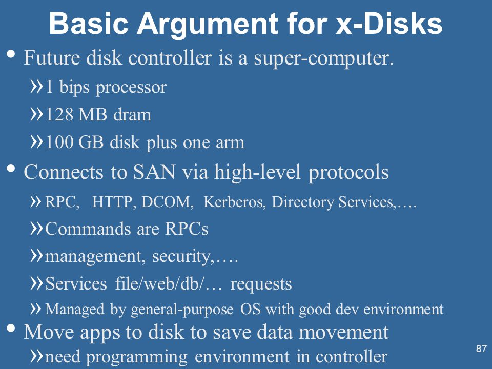 87 Basic Argument for x-Disks Future disk controller is a super-computer.