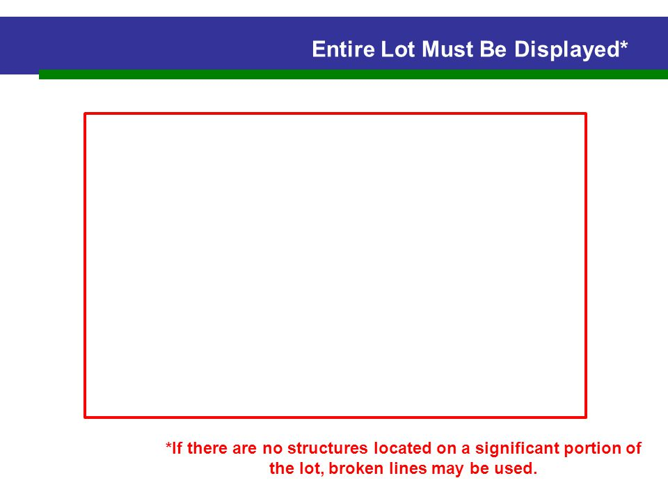 Entire Lot Must Be Displayed* *If there are no structures located on a significant portion of the lot, broken lines may be used.