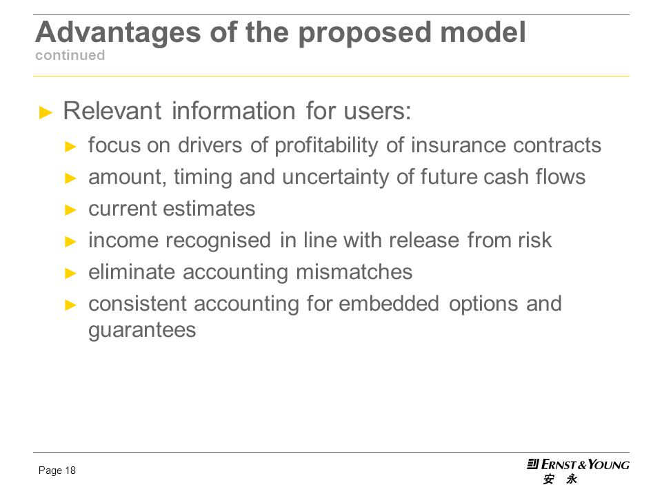 Page 18 Advantages of the proposed model continued ► Relevant information for users: ► focus on drivers of profitability of insurance contracts ► amou