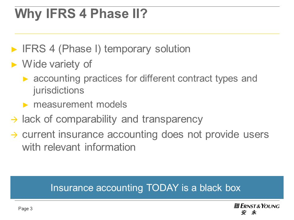 Page 3 Why IFRS 4 Phase II? ► IFRS 4 (Phase I) temporary solution ► Wide variety of ► accounting practices for different contract types and jurisdicti