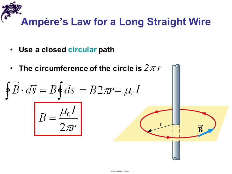 Ampère's Law for a Long Straight Wire Use a closed circular path The circumference of the circle is 2  r