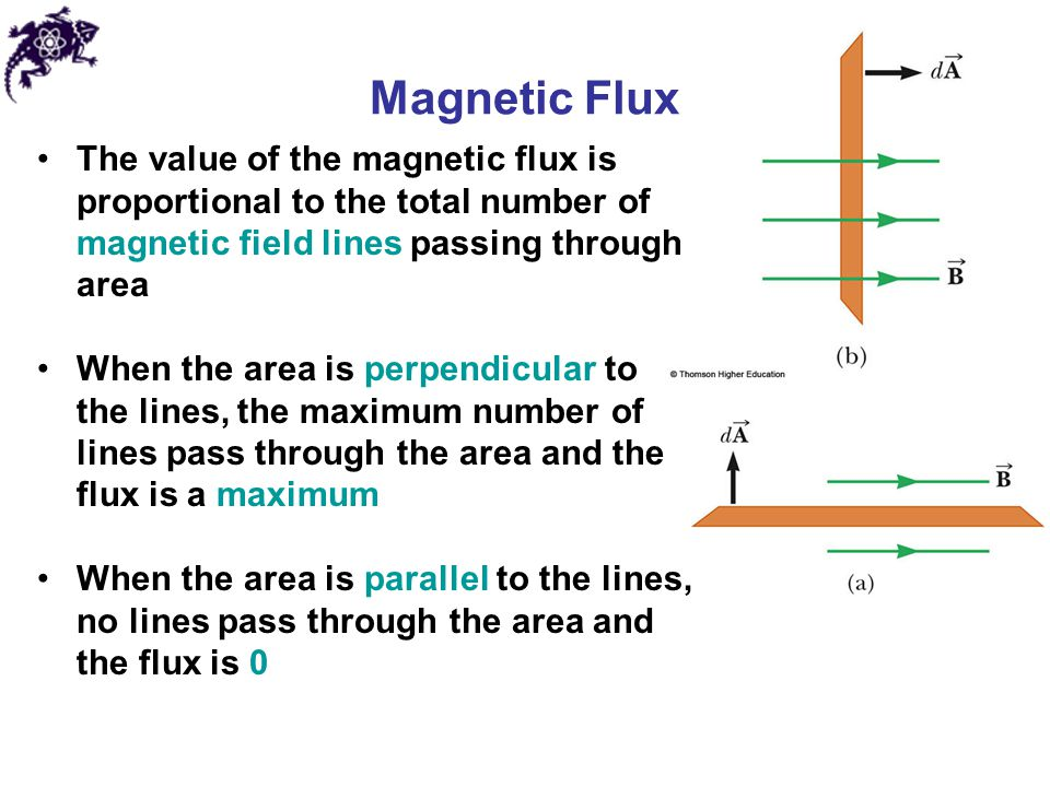 The value of the magnetic flux is proportional to the total number of magnetic field lines passing through area When the area is perpendicular to the
