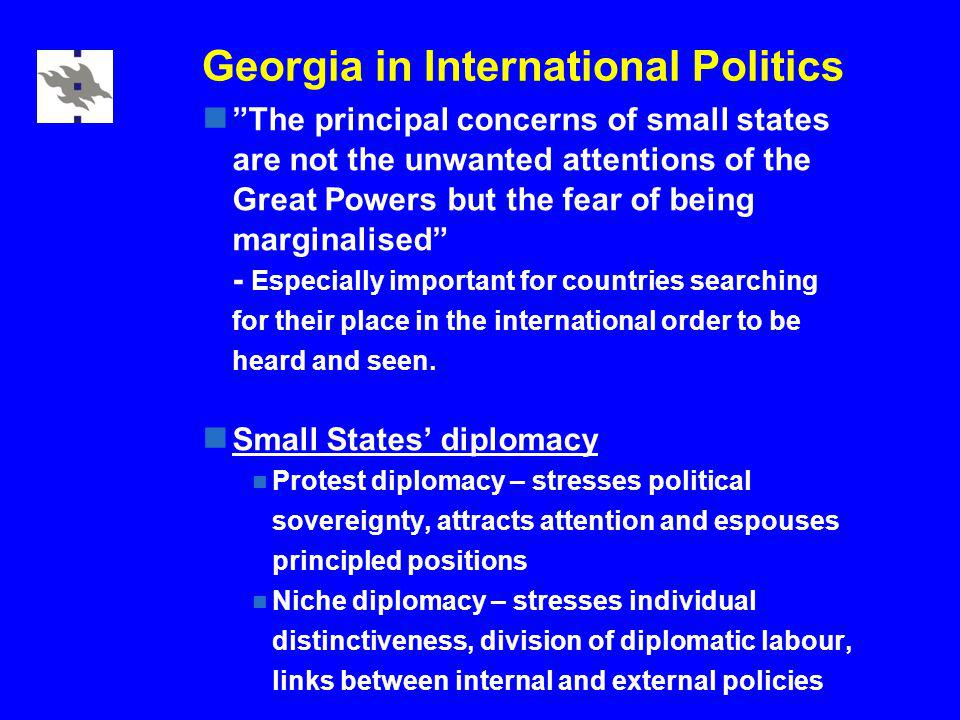 Georgia in International Politics The principal concerns of small states are not the unwanted attentions of the Great Powers but the fear of being marginalised - Especially important for countries searching for their place in the international order to be heard and seen.