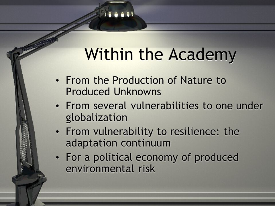 Within the Academy From the Production of Nature to Produced Unknowns From several vulnerabilities to one under globalization From vulnerability to resilience: the adaptation continuum For a political economy of produced environmental risk From the Production of Nature to Produced Unknowns From several vulnerabilities to one under globalization From vulnerability to resilience: the adaptation continuum For a political economy of produced environmental risk