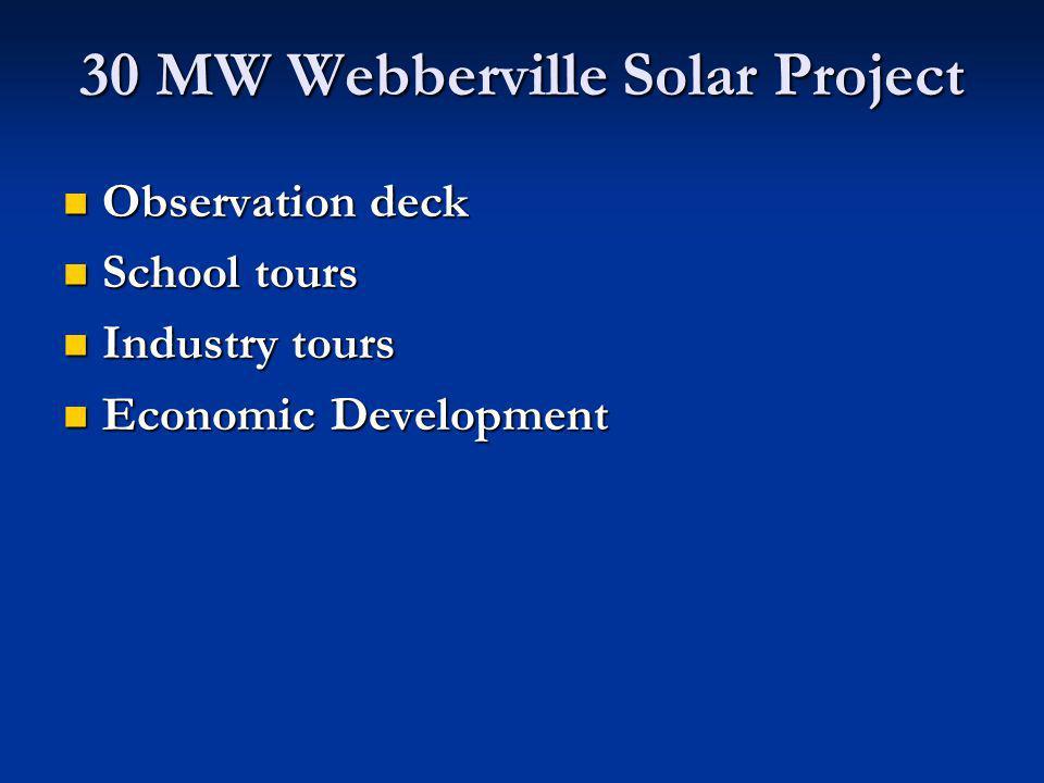 Observation deck Observation deck School tours School tours Industry tours Industry tours Economic Development Economic Development 30 MW Webberville Solar Project