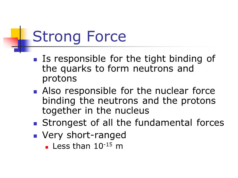 Strong Force Is responsible for the tight binding of the quarks to form neutrons and protons Also responsible for the nuclear force binding the neutro