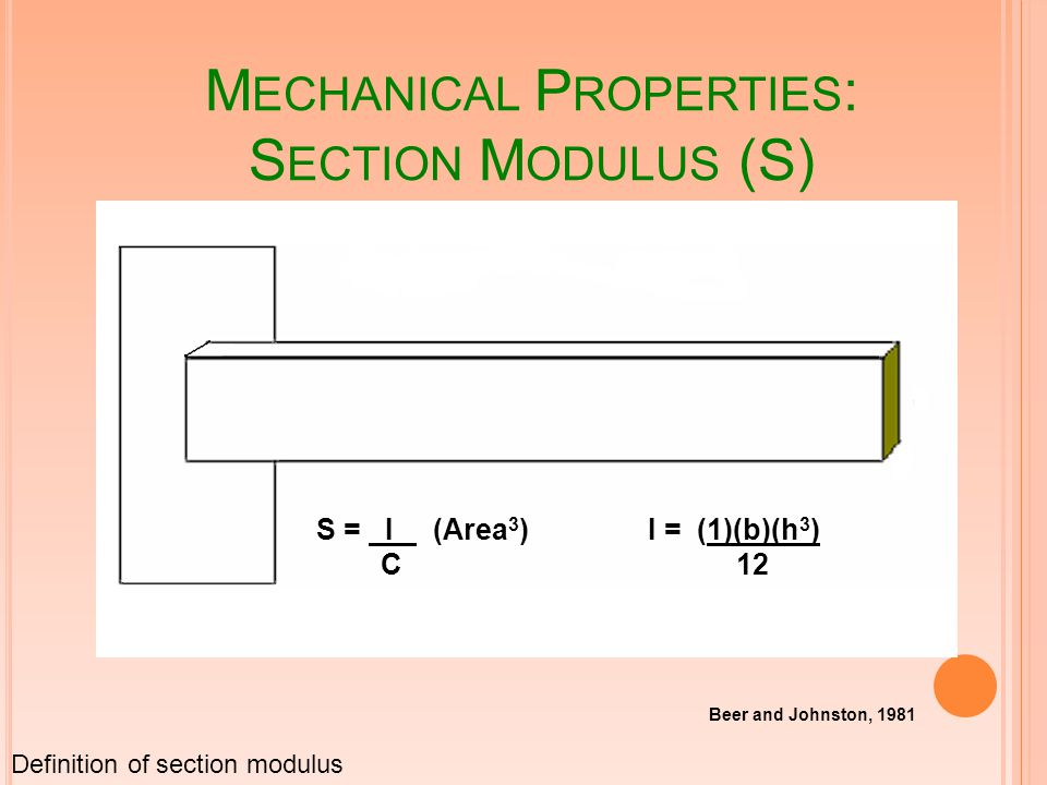 M ECHANICAL P ROPERTIES : S ECTION M ODULUS (S) S = I (Area 3 ) C I = (1)(b)(h 3 ) 12 Beer and Johnston, 1981 Definition of section modulus