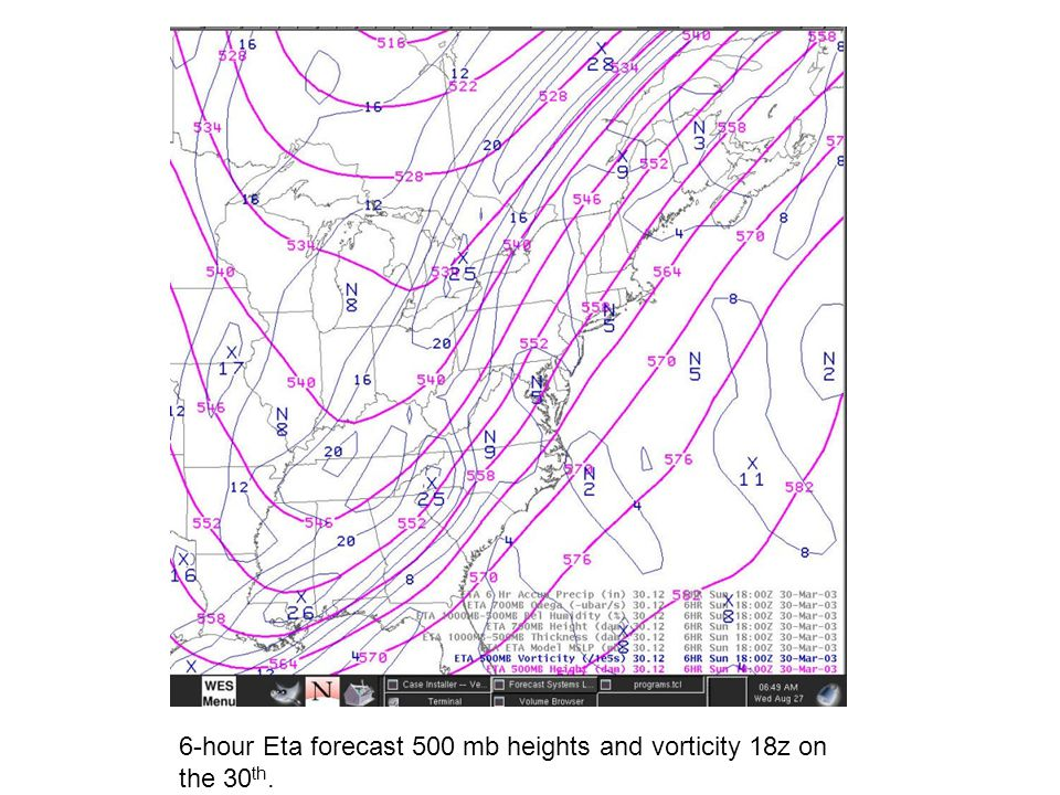 6-hour Eta forecast 500 mb heights and vorticity 18z on the 30 th.