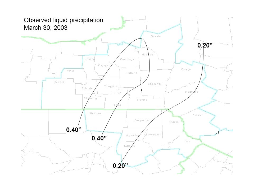 Observed liquid precipitation March 30, 2003 0.40 0.20