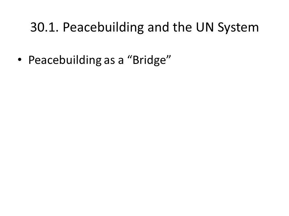 30.1. Peacebuilding and the UN System Peacebuilding as a Bridge
