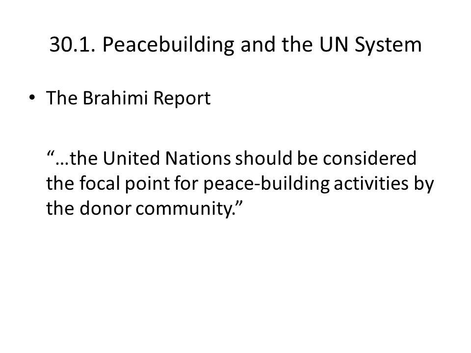 30.1. Peacebuilding and the UN System Peacebuilding Offices